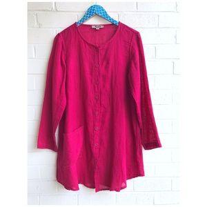 Flax Magenta Linen Button Down Pocket Tunic Dress